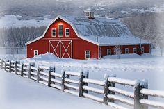 Beautiful winter barn scene