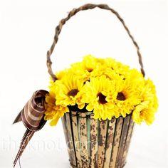 yellow flowers, idea, flower girl basket, favorit flower, baskets, flower girls, plan 81013