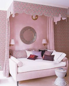 """Another way to orient a queen-size bed: it's turned the """"wrong way"""", anchored by the canopy.   Katie Ridder #pink"""