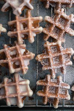 vanilla bean waffle doughnuts / sweet treats doughnut, sweet treats, bean waffl, waffle iron, waffl donut