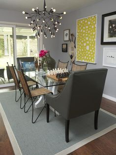 wall colors, dining rooms, dine room, chairs, light fixtures, dining room rugs, gardens, hgtv, modern bedrooms
