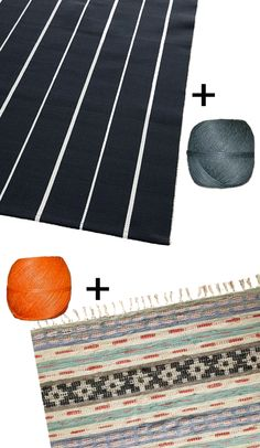 Sew multiple inexpensive small rugs together for big impact