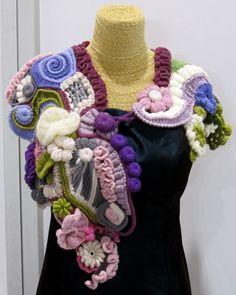lovely freeform crochet shawl created by Nerina Fubelli