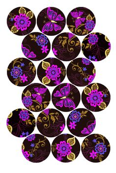 "Fun Flowers Pattern (Pink and Blue) Bottle cap image pack Formatted for printing on 4"" x 6"" photo paper"
