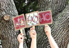 HO HO HO Rustic Christmas Photo Props Sewn by MyBurlapBanner