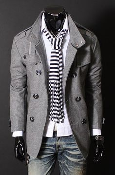 Grey jacket, white shirt and tie/scarf