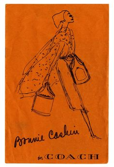 An original 1962 Bonnie Cashin sketch for Coach with her signature bold colors.