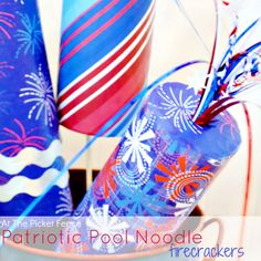Patriotic Pool Noodle Firecracker Craft pool noodle crafts, picket fences, pool noodles, firework, july crafts, 4th of july, recycled crafts, pools, craft ideas
