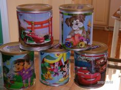 Reuse baby formula cans  to store and organize kids puzzles. I just cut the picture from the puzzle box and duct taped in on the can. These can hold more puzzle pieces than you might think and fit in bookcases perfectly.