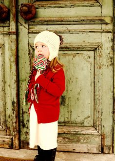 Winter Beanie Hat with Braids in Cranberry Red, Green and Cream - Christmas Holiday Hat. $25.00, via Etsy.