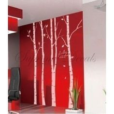 wall art, vinyls, birches, birch tree, trees, mural, vinyl wall decals, red walls, vinyl decals