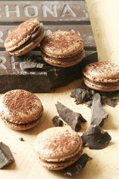 rich chocolate italian meringue macaron