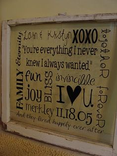 """Love the saying """"your everything I never knew I always wanted"""".  Also could use this same idea on a simple frame, putting vinyl wording of a favorite phrase....cute"""