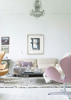 This gorgeous living room was designed by design consultant Barbara Bendix Becker and Jacob Holm. French Lavendery for sure! Originally posted on http://elledecoration.co.za \\\ Details here: http://www.sfgirlbybay.com/2012/09/27/pale-beauty/
