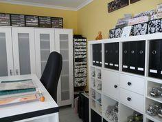 Now thats a scrapbook room....I'm jealous scrapbooking/ craftroom ideas, organ, scrapbooking rooms, black white, scrapbook rooms, color scheme, crafts, dream rooms, craft rooms