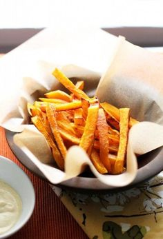 Baked Butternut Squash Fries. Serve with ketchup, a curried yogurt dip or avocado dip.