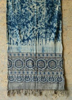 Indigo #Stole by http://shop.gaatha.com/ajrakh-stole-natural-dyes-qcz  artisan has combined Ajrakh's aesthetic acuity w/ Shibori's harmony Follow >> http://www.Pinterest.com/gaatha/