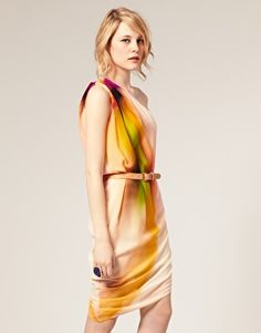 ASOS One Shoulder Dress in Rainbow Smudge Print