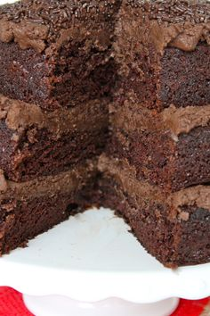 The Greatest Chocolate Cake Recipe ~ Says: the secrets to the amazingness of this cake is three simple ingredients: Buttermilk is the best! Coffee is essential! Pudding mix makes it perfect!