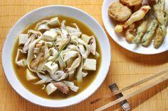 Miso Mushroom Udon with Tempura Vegetables #MeatlessMonday