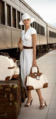 Luxuary Travel - White and Tan, Heels and Trains.