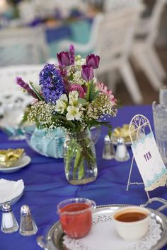flowers + ball jars centerpieces