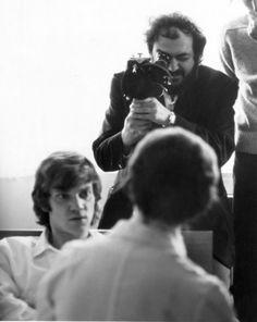 Stanley Kubrick filming Malcolm McDowell in 'A Clockwork Orange', 1971.