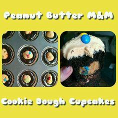 Peanut Butter MnM Cookie Dough Filled Dark Chocolate Cupcakes!