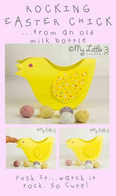 Cute Rocking Easter Chick- (free printable template) -made from old plastic milk bottles.