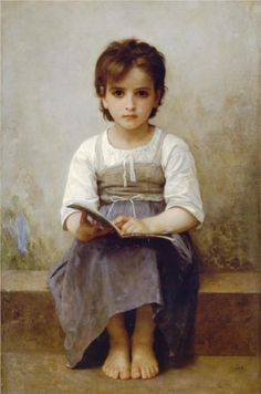 difficult lesson, little girls, william adolphe bouguereau, portrait art, book, paint, artist, williamadolph bouguereau, young girls