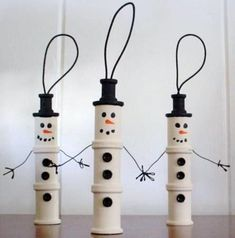 wooden spool craft | Wooden Spool Snowmen | crafts