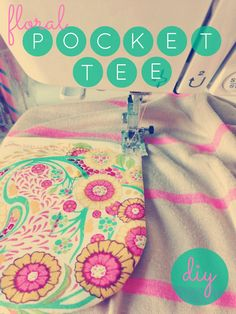 floral pocket tee DIY