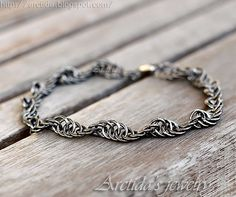 Mens jewelry chainmaille men bracelet oxidized sterling by Arctida