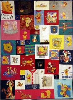 Pooh shirts still with collars and front buttons - tshirt quilt