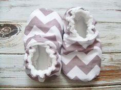 Chevron baby crib shoes, booties, custom size preemie, newborn, 0,3,6,9,12,18 months, girl, boy, neutral, gray on Etsy, $14.00