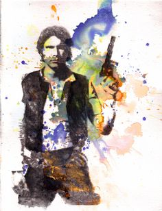 Han Solo Star Wars Watercolor Painting. Okay this person is sooo cool xD. My brother would flip for this xD