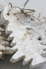 Frosted birch ornaments ...