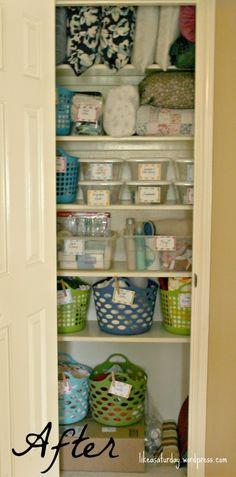 Linen Closet organization ideas for less than ten dollars.