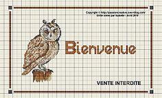 free cross stitch owl welcome