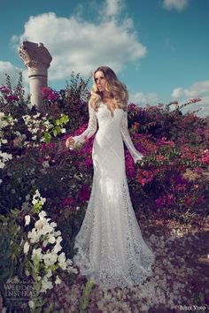 julie vino 2014 bridal long sleeve wedding dress lace illusion - Krystle Women Clothing