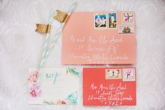 Floral Calligraphy Vow Renewal Invitation Stationery