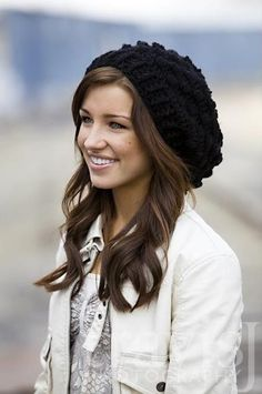 Crocheted Slouchy Hat / beanie  in Black