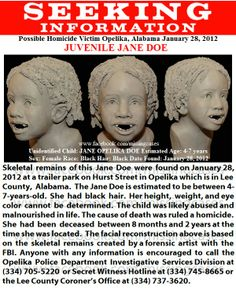 Unsolved child homicide in Alabama since 2012..so sad wish someone who knew this child would recognize this and she could at least have her name.