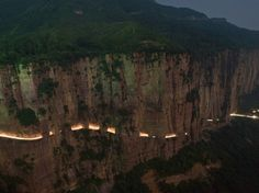 """One of the most dangerous roads: Guoliang tunnel, China. """"The Road that doesn't tolerate any mistakes"""". Was built by 13 people from the local village.  It took them five years to finish the 1,200-meter long tunnel road (0.8mile). The tunnel is about 5 meters high (15 ft) and 4 meters (12 ft) wide. Tickets to #china 50% off only on #AirConcierge. #hunan"""