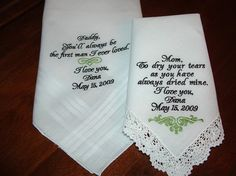 Wedding Hankies love these <3 <3