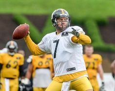 Big Ben fires a pass during practice this afternoon.