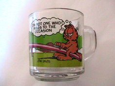 GARFIELD 1980s GLASS COFFEE MUG CUP  I have hole set!