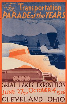 By Leslie Darrell Ragan (b.1897), 1936, The transportation parade of the years, Great Lakes Exposition, Cleveland, Ohio. (US)