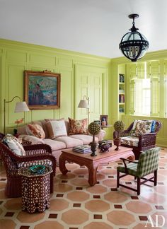 Decorating with Green:  Living Room by Mario Buatta and Muse Architecture in Southampton, New York