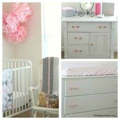 Pink and Gray Nursery with white crib and furniture - GORGEOUS!